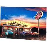 """infactory Leuchtbilder: Wandbild """"Rock It Diner"""" auf Leinwand mit LED-Beleuchtung, 45 x 30 cm (Beleuchtetes Wandbild)"""