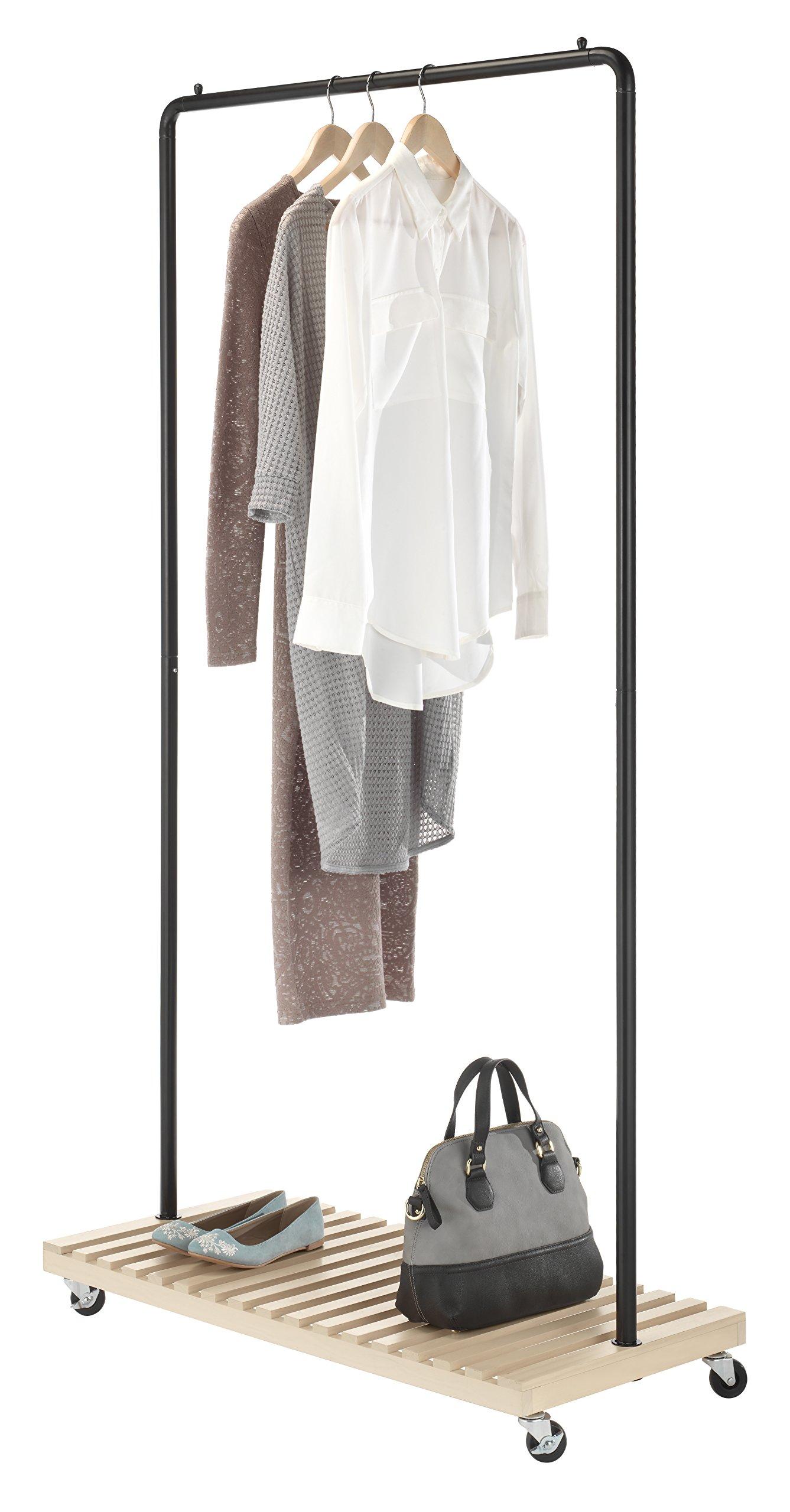 Whitmor Slat Wood Garment Rack - Freestanding Rolling Clothing Organizer - New Zealand Pine Shelf