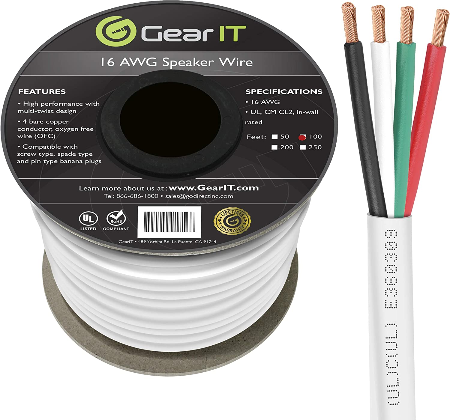 GearIT Pro Series 16 AWG Gauge OFC Oxygen Free Copper UL CL2 Rated in-Wall Speaker Wire Cable for Home Theater and Car Audio 16 AWG CL2 OFC in Wall Speaker Wire 250 Feet // 76.2 Meters//White