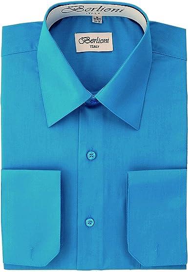 Berlioni Camisa de vestir para hombre - Puños franceses convertibles - Gran selección de colores