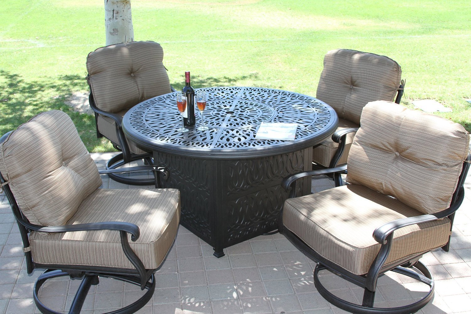 "Elizabeth Cast Aluminum Powder Coated 5pc Deep Seating Set with 52"" Firepit with Enclosure Sunbrella Fabric - Antique Bronze"