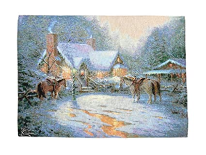 Thomas Kinkade Christmas.Thomas Kinkade Christmas Welcome Fiber Optic Wall Hanging