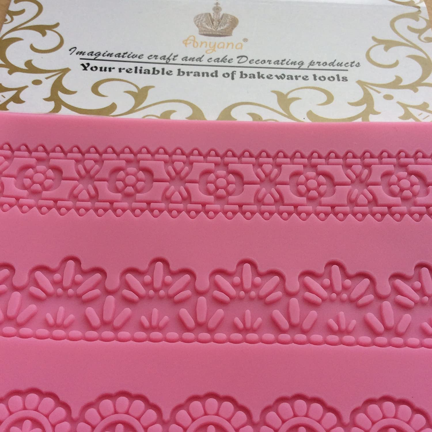Anyana Embossing Mat Lace Band Silicone imprint Fondant impression Sugar Paste Mould Cake Decoration Tools Kitchen chocolate Sugar Paste Baking Mold Cookie Pastry