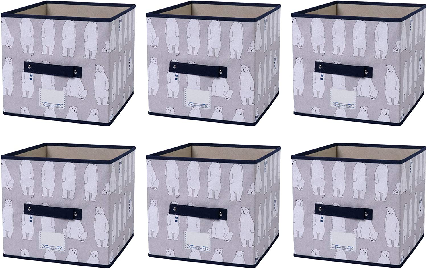 Grey Bear NA/&CO SEASON 6 Pack Foldable Canvas Storage Bins Containers Great Organizer Storage Boxes for Closet//Cabinet//Office//Shelf//Nursery Decorative Cube Baskets with Handles