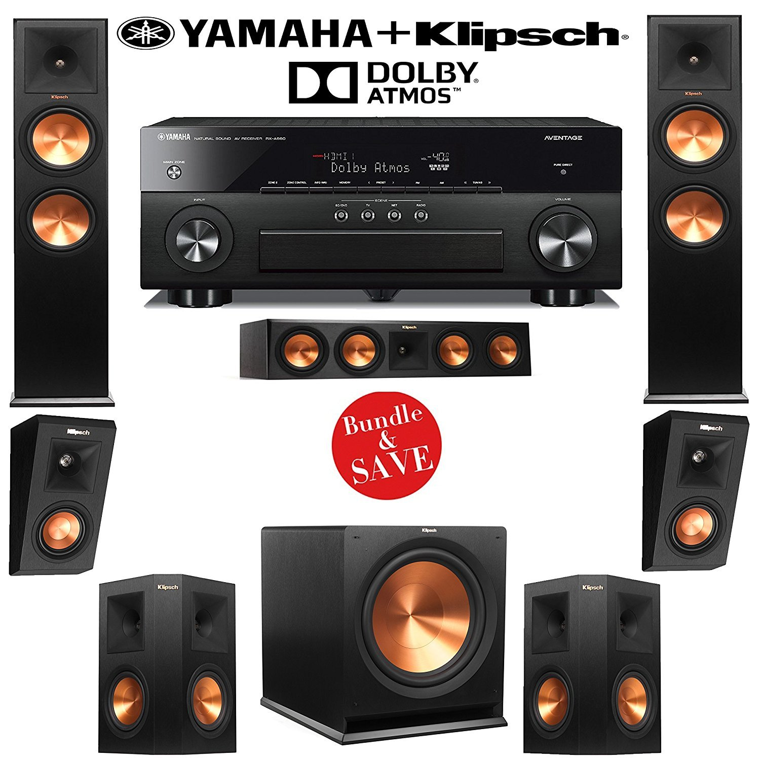 Klipsch RP-280FA 5.1.2 Dolby Atmos Home Theater Speaker System with Yamaha RX-A860BL 7.2-Ch A/V Receiver by Klipsch