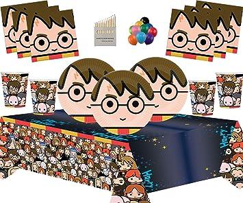 Artículos de Fiesta de Harry Potter Platos de Papel Vasos Servilletas Manteles Globos Gratis y lápices de Colores variados-16 Invitados