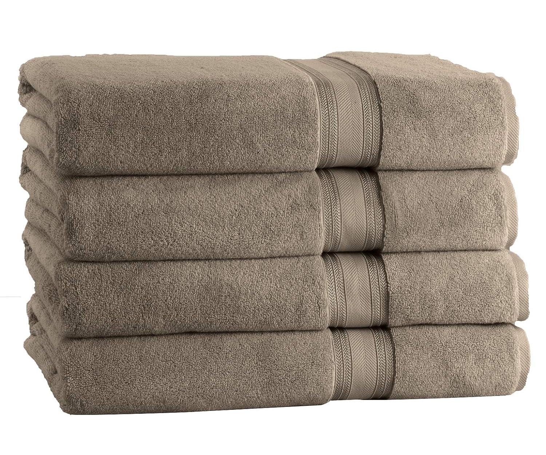 Premium 100% Cotton Zero Twist Soft Bath Towel Set (4 Pack, 28 x 54 Inch) High Absorbency Quick Drying Towel Set (White) Affinity Linens