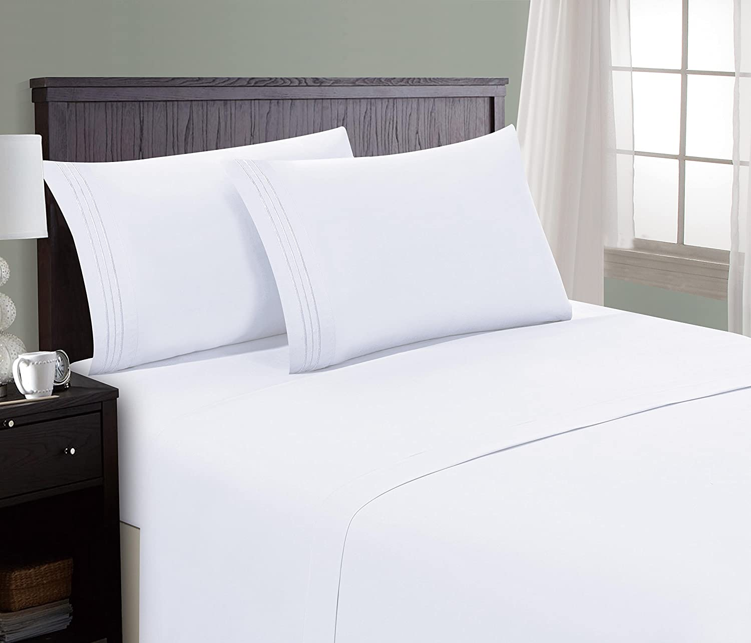 HC Collection Bed Sheet & Pillowcase Set HOTEL LUXURY 1800 Series Egyptian Quality Bedding Collection