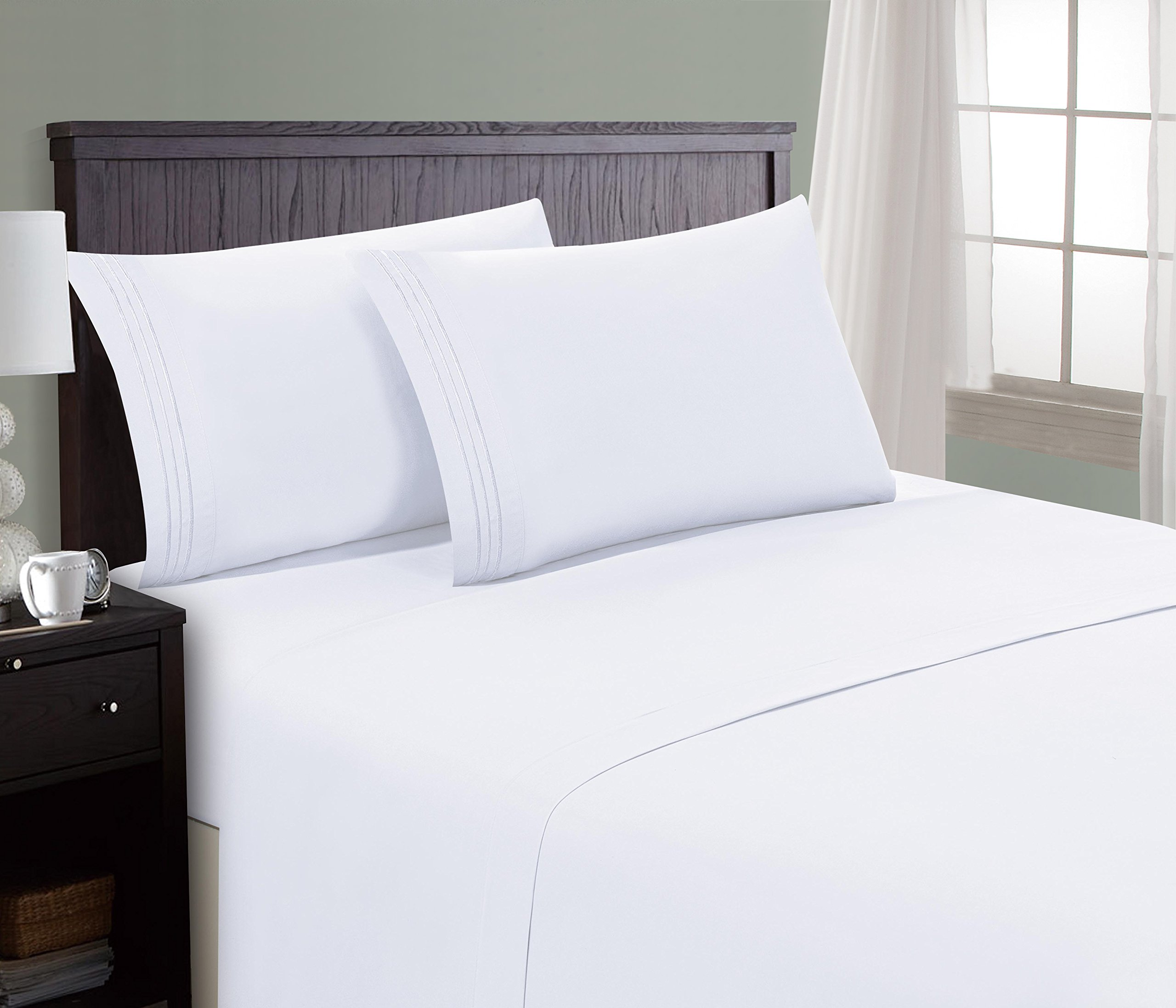 HC Collection Bed Sheet & Pillowcase Set HOTEL LUXURY 1800 Series Egyptian Quality Bedding Collection! Deep Pocket, Wrinkle & Fade Resistant,Luxurious,Comfortable,Extremely Durable(Queen, White)