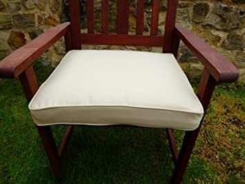 UK Gardens Cream Beige Deep Large Square Garden Furniture Chair Cushion Seat  Pad For Garden