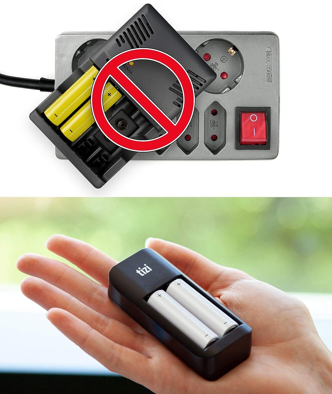 equinux New Tizi LAADAAA - USB Battery Charger for 2X AA Mignon/AAA Micro (Ni-Mh, Ni-CD, Rechargeable Batteries) Charge Via Micro USB, Light and Portable: ...