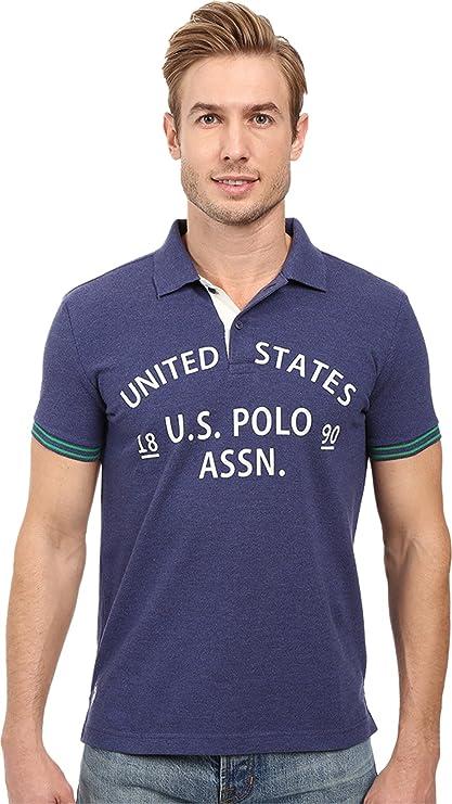 U.S. Polo Assn. Mens Slim Fit Flocked Logo Pique Polo Shirt ...