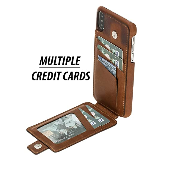 pretty nice 1015d 7d314 Apple iPhone X/XS Leather Case by Burkley, Leather Snap-on Case with  Attached Bifold Wallet, Magnetic Flip Closure with Card Holders    Hand-Wrapped in ...