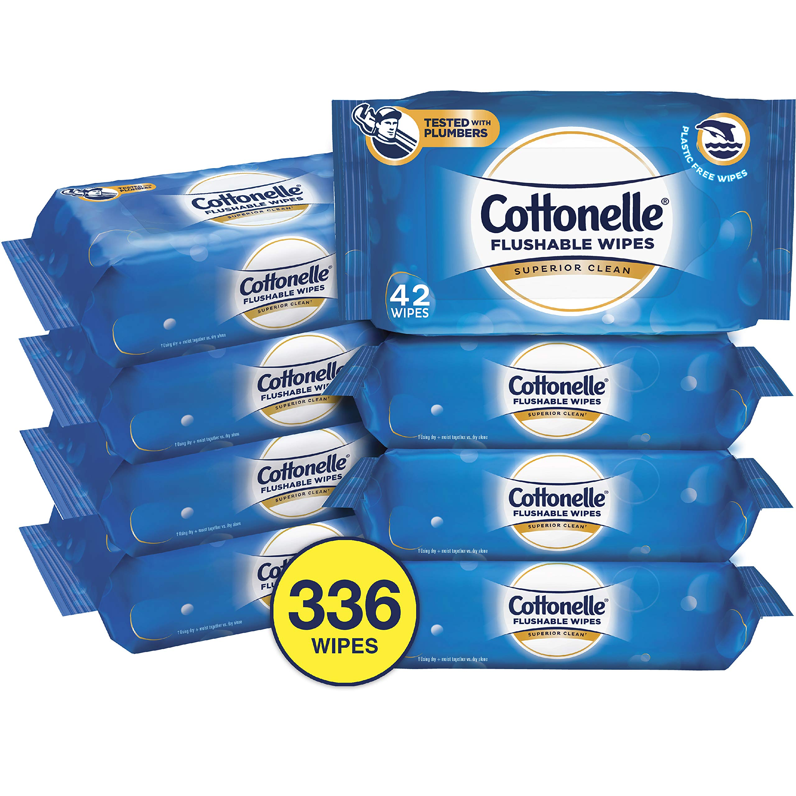 Cottonelle FreshCare Flushable Wipes for Adults, Wet Wipes, Alcohol Free, 336 Wet Wipes per Pack (Eight 42-Count Resealable Soft Packs) by Cottonelle