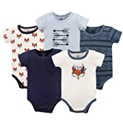 Yoga Sprout Unisex Baby Cotton Bodysuits, Be Clever 5Pk Short Sleeve, 18-24 Months (24M)