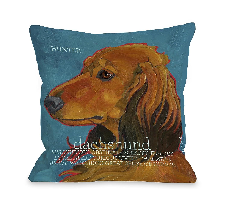 One Bella Casa Daschund 4 Throw Pillow, 16 by 16-Inch