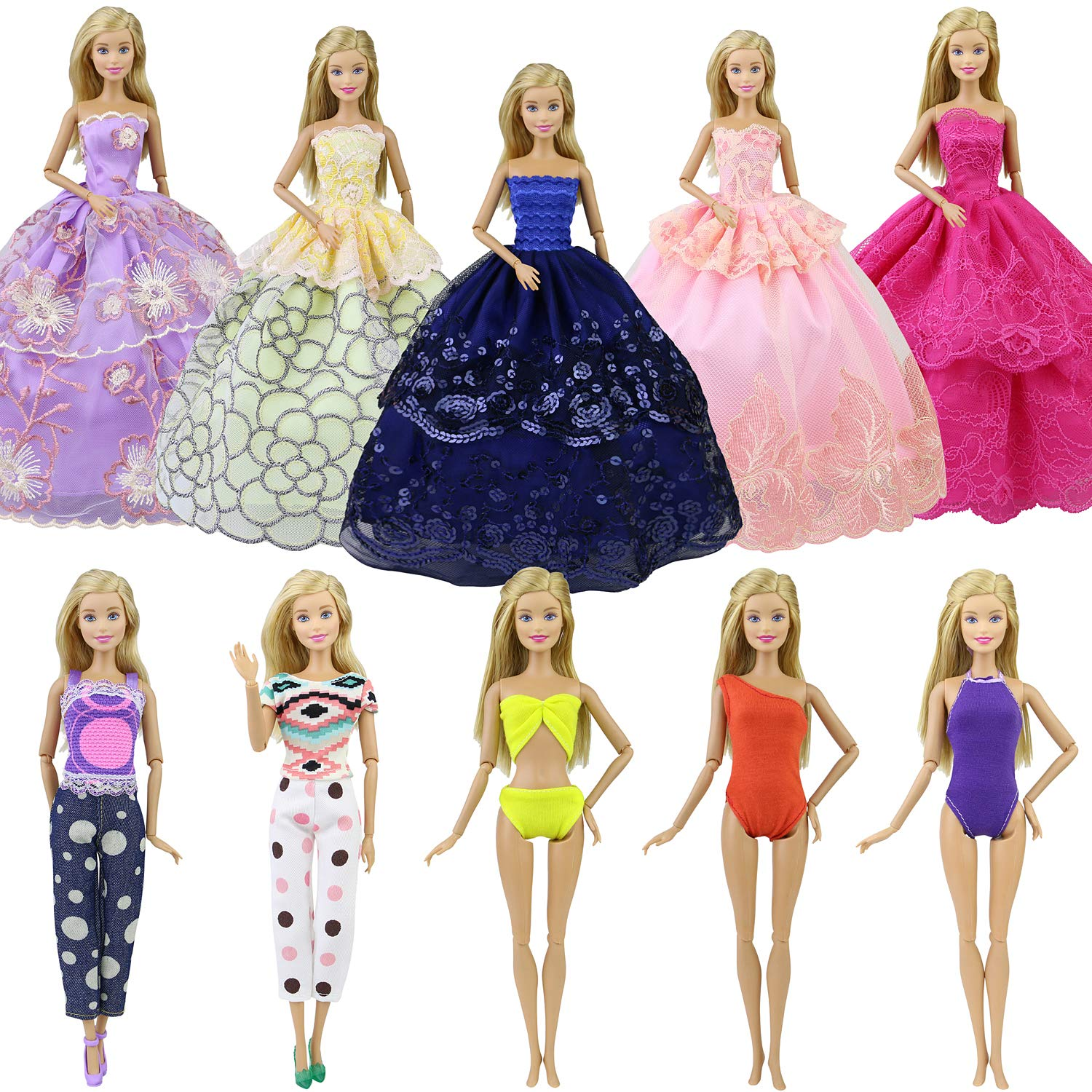 Ecore Fun Lot 10 Item 5 Pcs Fashion Handmade Dresses 2 Sets Casual Wear Clothes Outfit 3 Sets Swimsuits for 11.5 Inch Doll Xmas Birthday Gift Present Random Style