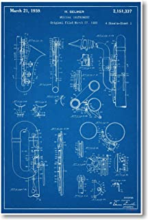 Amazon saxophone patent print art poster blueprint 85 x 11 selmer saxophone patent new famous invention patent poster malvernweather Image collections