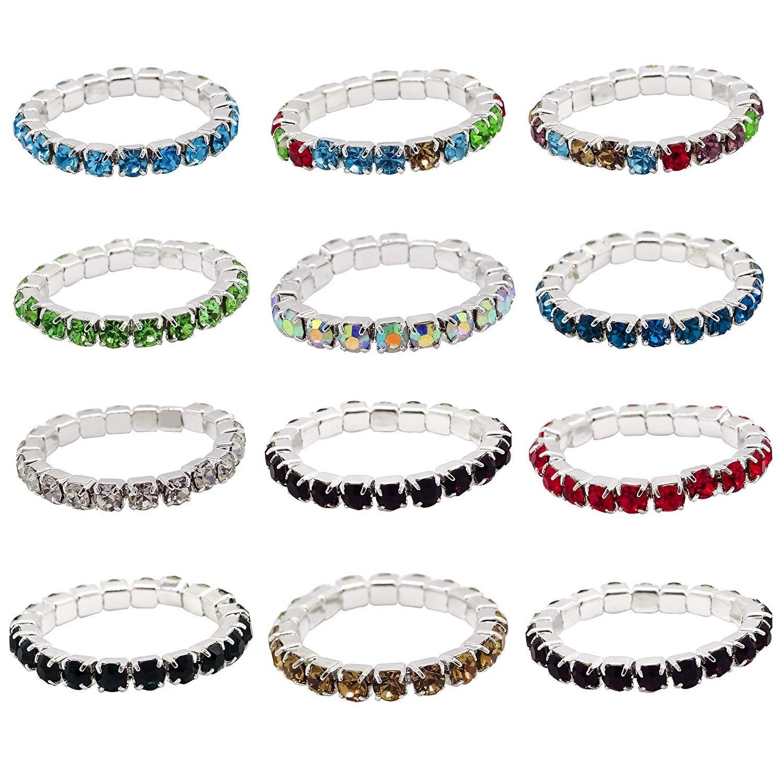 ZAKIA 12pcs Elastic Crystal Toe Ring Jewelry Bag Rhinestone Accessories