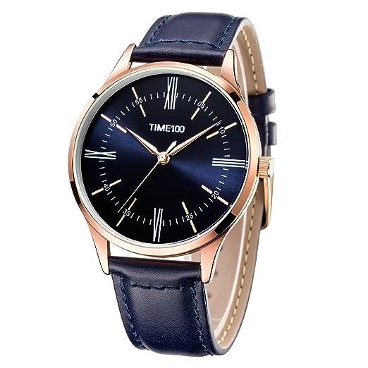 Time100 Reloj Cuarzo para Hombre de Deporte Moderno de número Romano con Diamante Correa de Piel W80226G (Azul): Amazon.es: Relojes