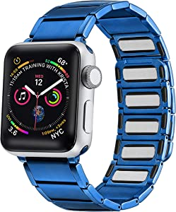 Libra Gemini Compatible for Apple Watch Band 42mm 44mm, Stainless Steel Magnetic Convenient Wear Wristband for Iwatch Series 6/5/4/3/2/1 (Blue)