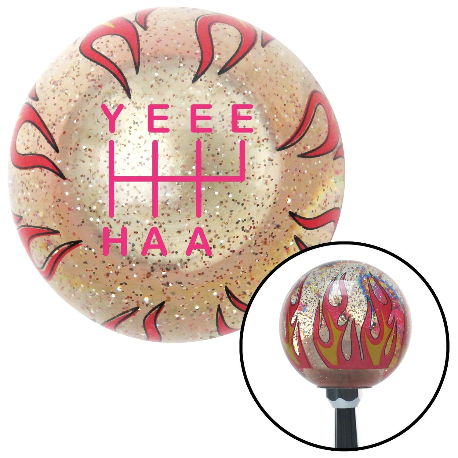 Pink YeeeHaa 6 Speed RUR Clear Flame Metal Flake with M16 x 1.5 Insert American Shifter 302256 Shift Knob