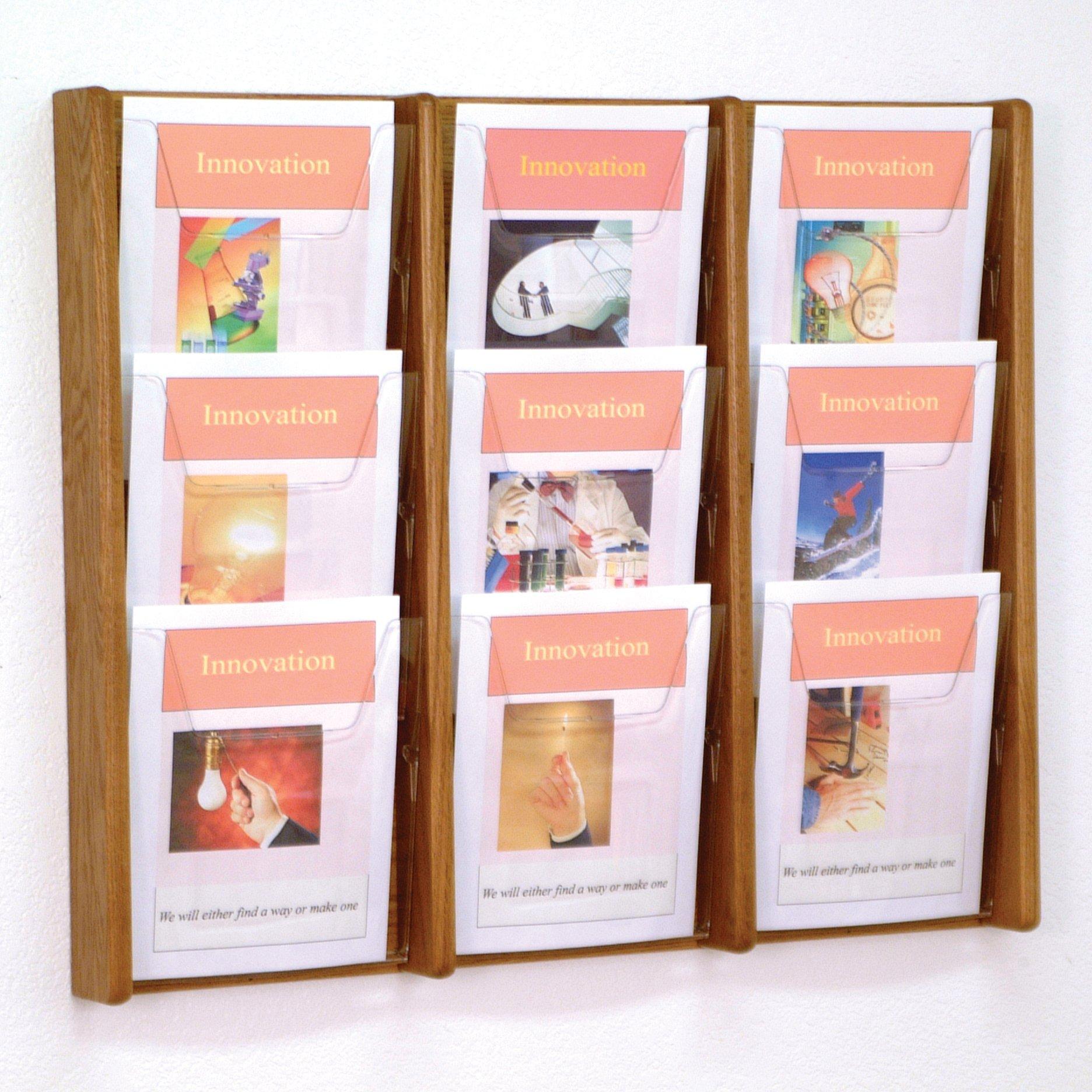 DMD Literature Display, 9 Pocket, Solid Oak and Acrylic Wall Mount Rack, Medium Oak Wood Finish