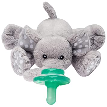 Nookums Paci-Plushies Elephant Buddies - Pacifier Holder (Plush Toy Includes Detachable One Piece Pacifier, Use with Multiple Brand Name Pacifiers)