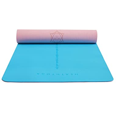 Heathyoga Eco Friendly Non Slip Yoga Mat, Body Alignment System, SGS Certified TPE Material - Textured Non Slip Surface and Optimal Cushioning,72 x 26  Thickness 1/4