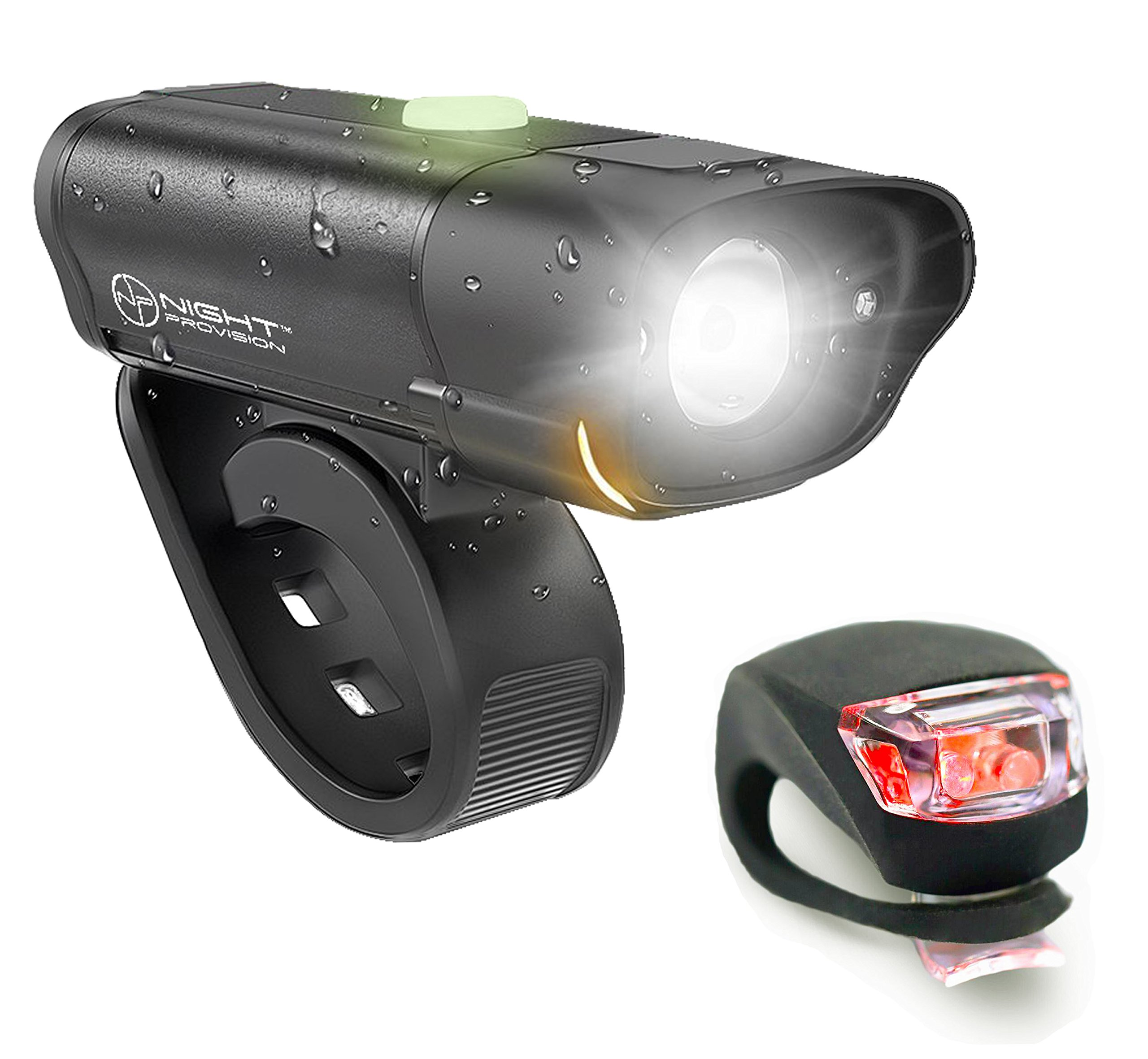 Night Provision POWERFUL BX-300 CREE L2 Bike Light Set USB Rechargeable Front Headlight w/Amber Side Alert + Bonus Free Rear LED Bike Light