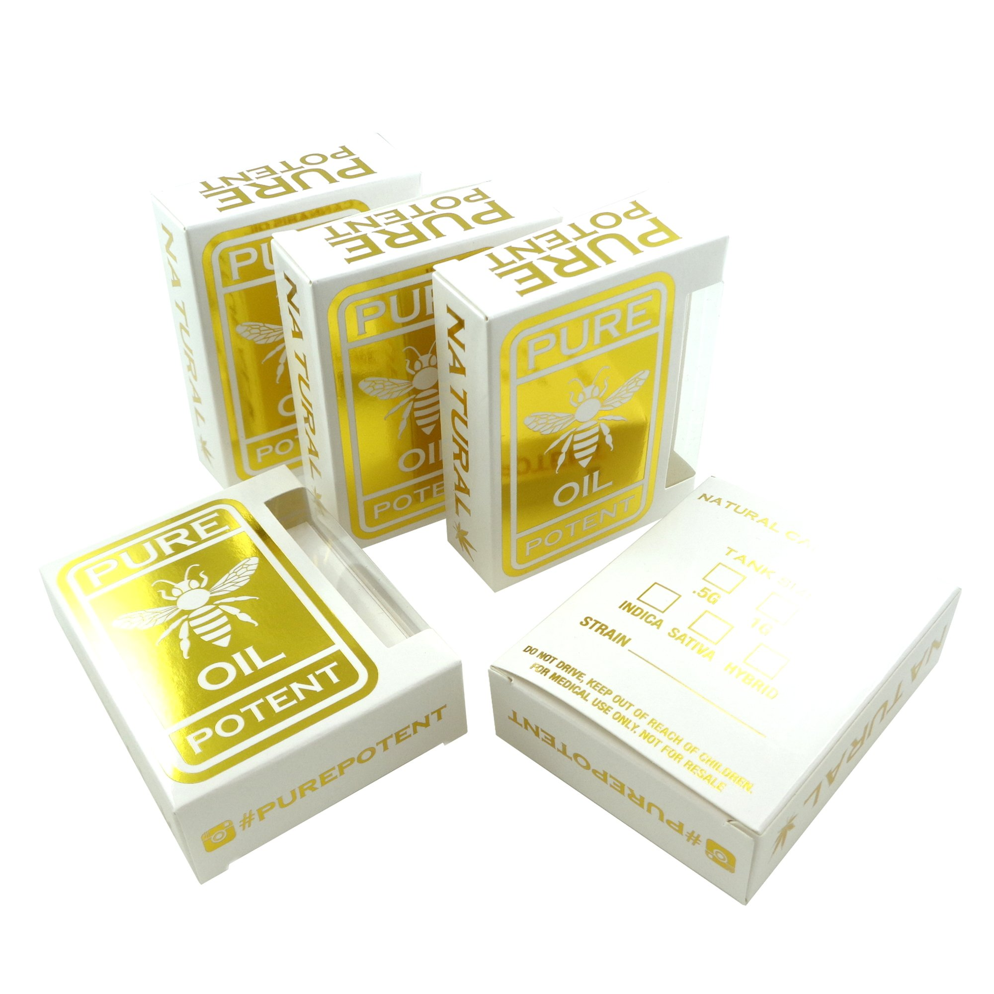250 White Gold Pure Potent Oil Empty Display Packaging Boxes by Shatter Labels VB-003