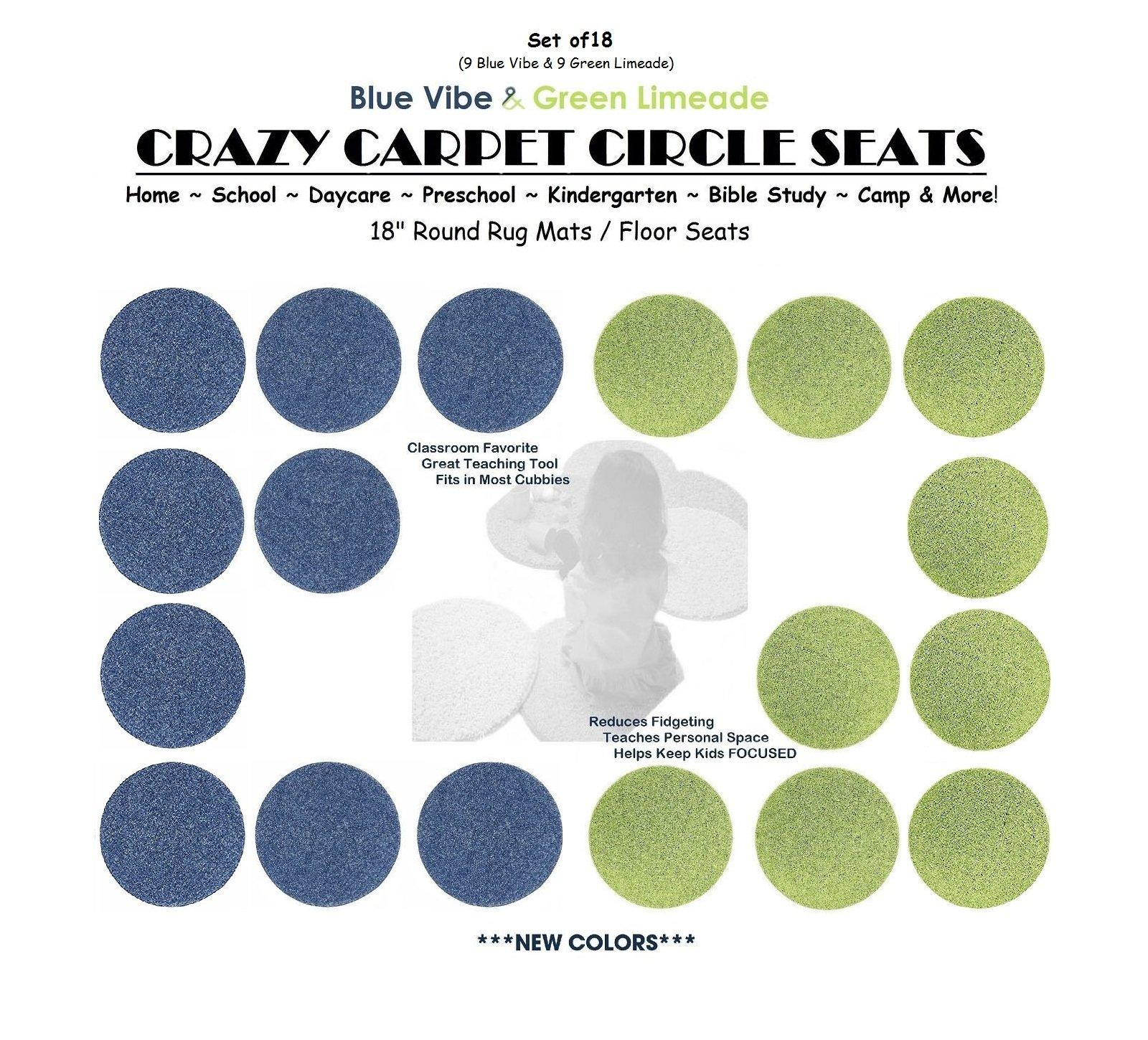 CHILDREN'S CRAZY CARPET CIRCLE SEATS - Blue Vibe & Green Limeade Set | 18'' Round Rug Mats / Floor Seats SCHOOL & HOME Favorite (Set of 18 Seats - 9 Blue/ 9 Green)