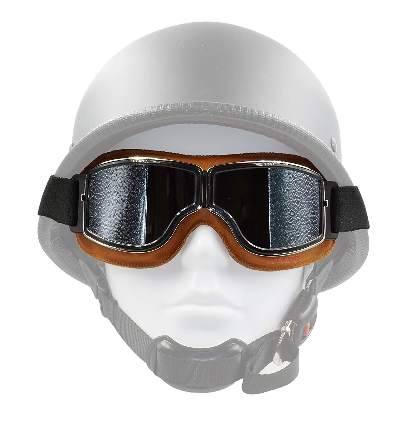 Hot Rides Classic Vintage Aviator Pilot Motorcycle Goggles Protective Glasses (Silver Frame/Plating Lens) PB BP-MOT