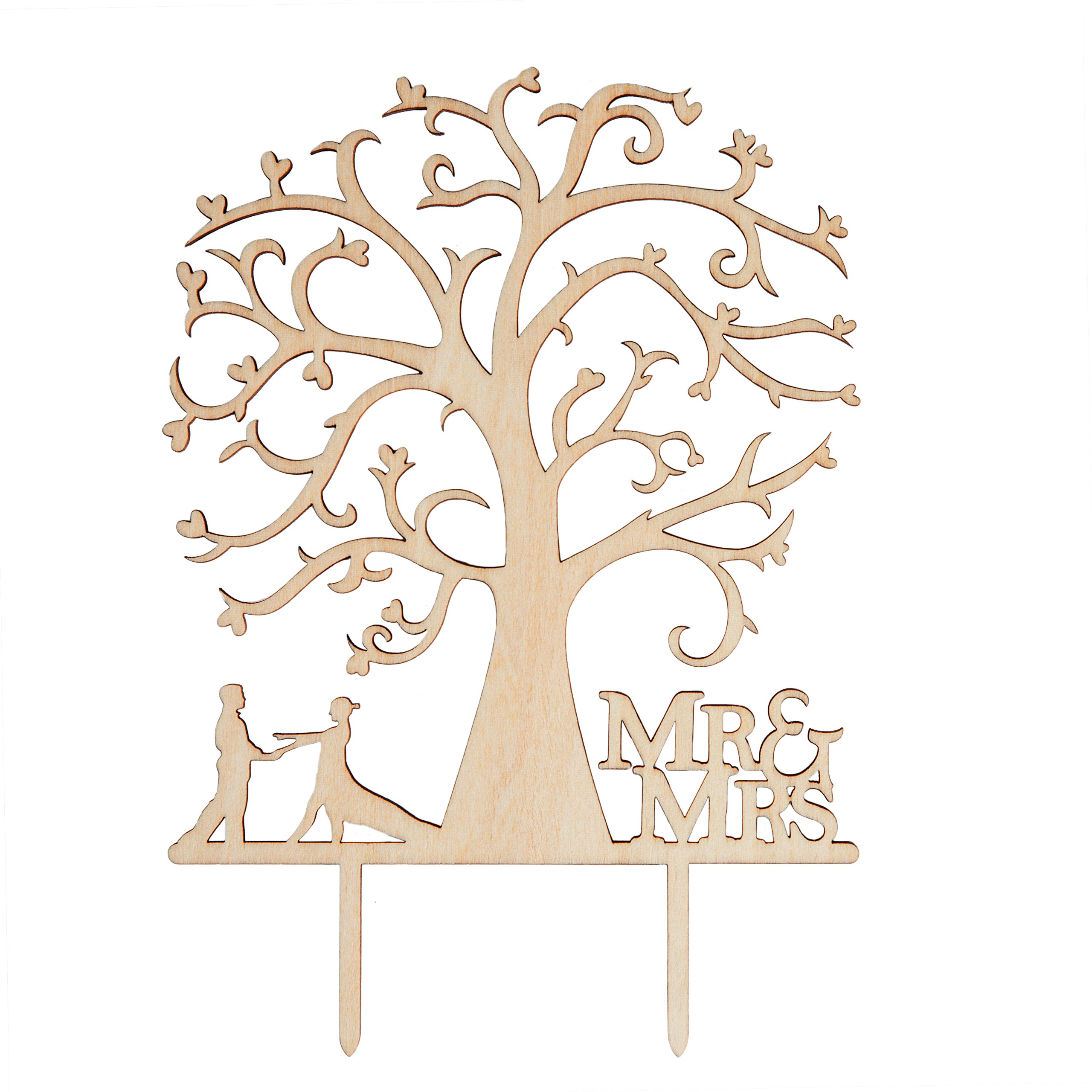 LOVENJOY Gift Box Pack Mr and Mrs Dancing Bride and Groom Tree Silhouette Rustic Wedding Cake Toppers Wood (5-inch) by LOVENJOY (Image #6)