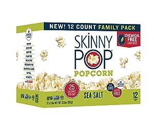 SkinnyPop Sea Salt Microwave Popcorn , 2.8oz Microwavable Bags (Pack of 12), Skinny Pop, Healthy Popcorn, Gluten Free
