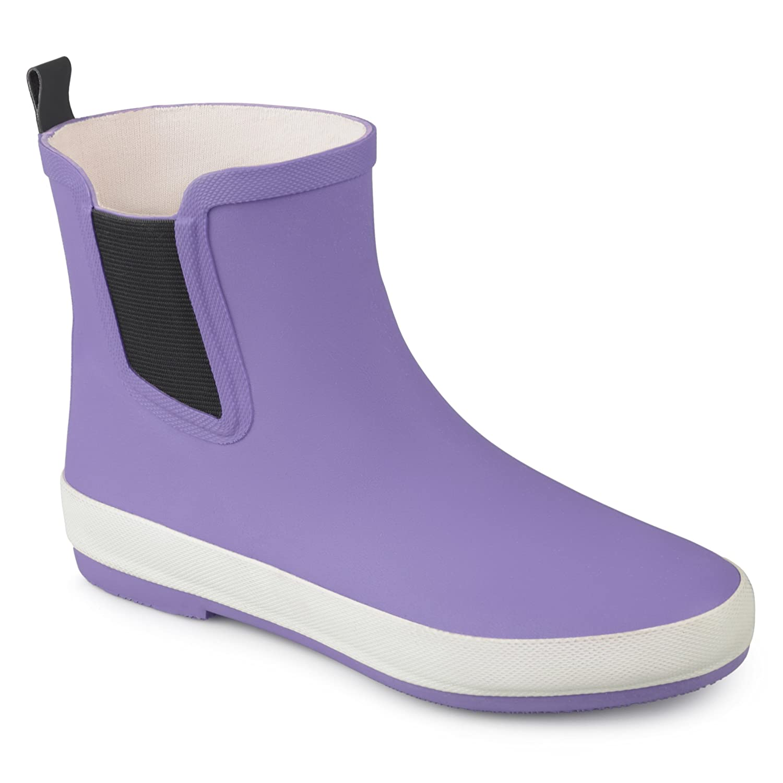 Brinley Co Womens Samar Rubber Sporty Solid Color Rainboots B0741DRM31 12 B(M) US|Purple