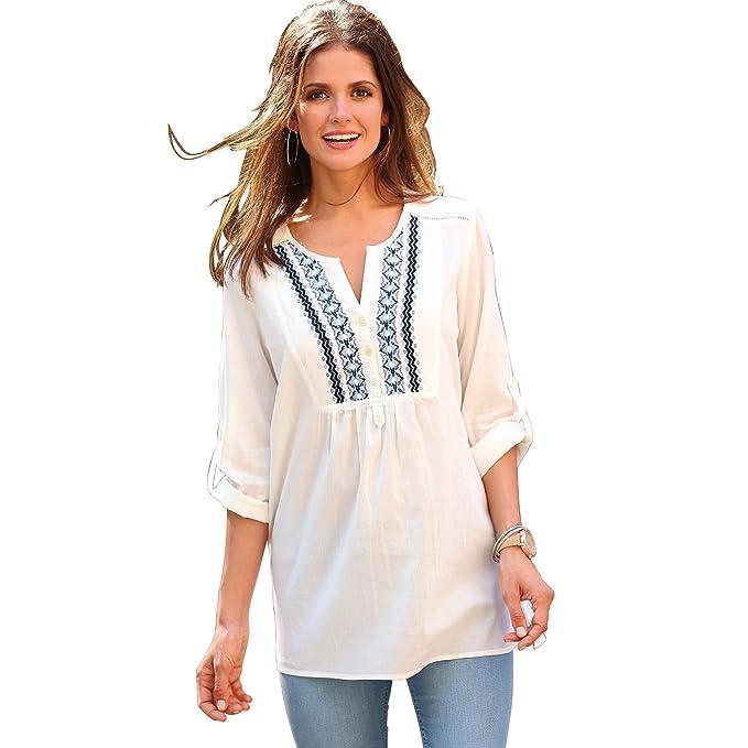 VENCA Camisa canesú Delantero Bordado Mujer by Vencastyle - 014047: Amazon.es: Ropa y accesorios