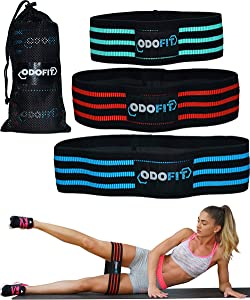 ODOFIT Booty Squat Leg Fabric Resistance Bands Gym Workout Equipment for Home - Butt Glutes Thigh Exercise Workout Bands for Women – Set of 3 Non Slip Butt Hip Bands for Warm-Up Men