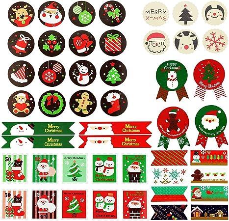 10 feuilles de stickers de Noël-Cadeau Cookie Candy Cane Santa
