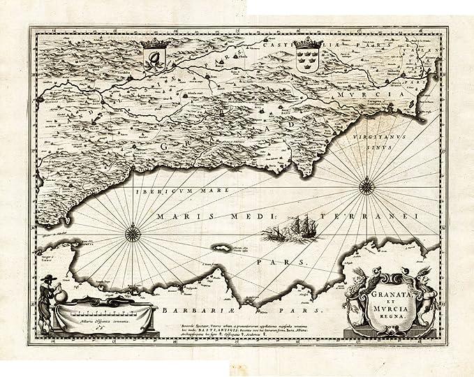 Antiguo ThePrintsCollector mapa de España-Granada-Murcia-Córdoba-Hondius-1636: Amazon.es: Hogar