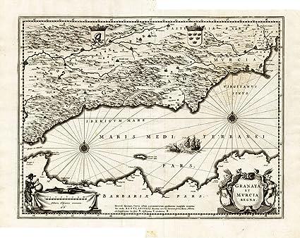 Map Of Spain Granada.Amazon Com Antique Map Spain Granada Murcia Cordoba Hondius 1636
