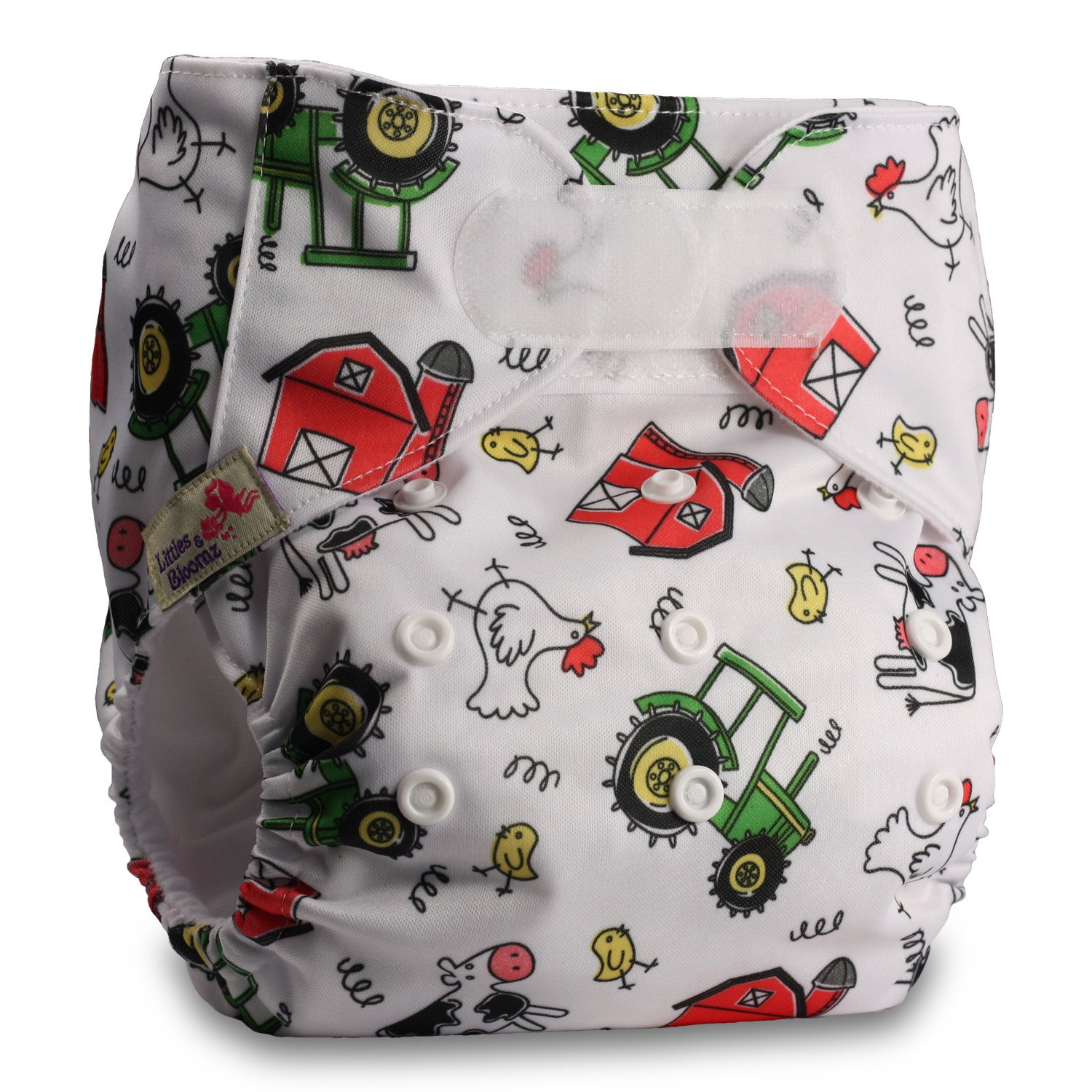 Pattern 56 Fastener: Hook-Loop Reusable Pocket Cloth Nappy Set of 1 Littles /& Bloomz with 2 Bamboo Inserts