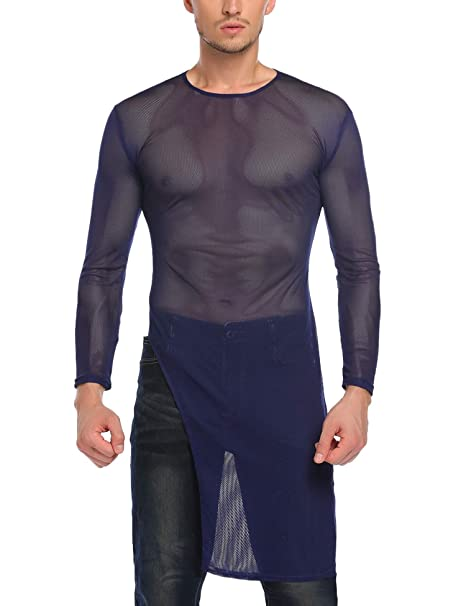 a34c466cd349e COOFANDY Men's Christmas Sexy See Through Long Sleeve Mesh Clubwear Party  Long Tee Shirt