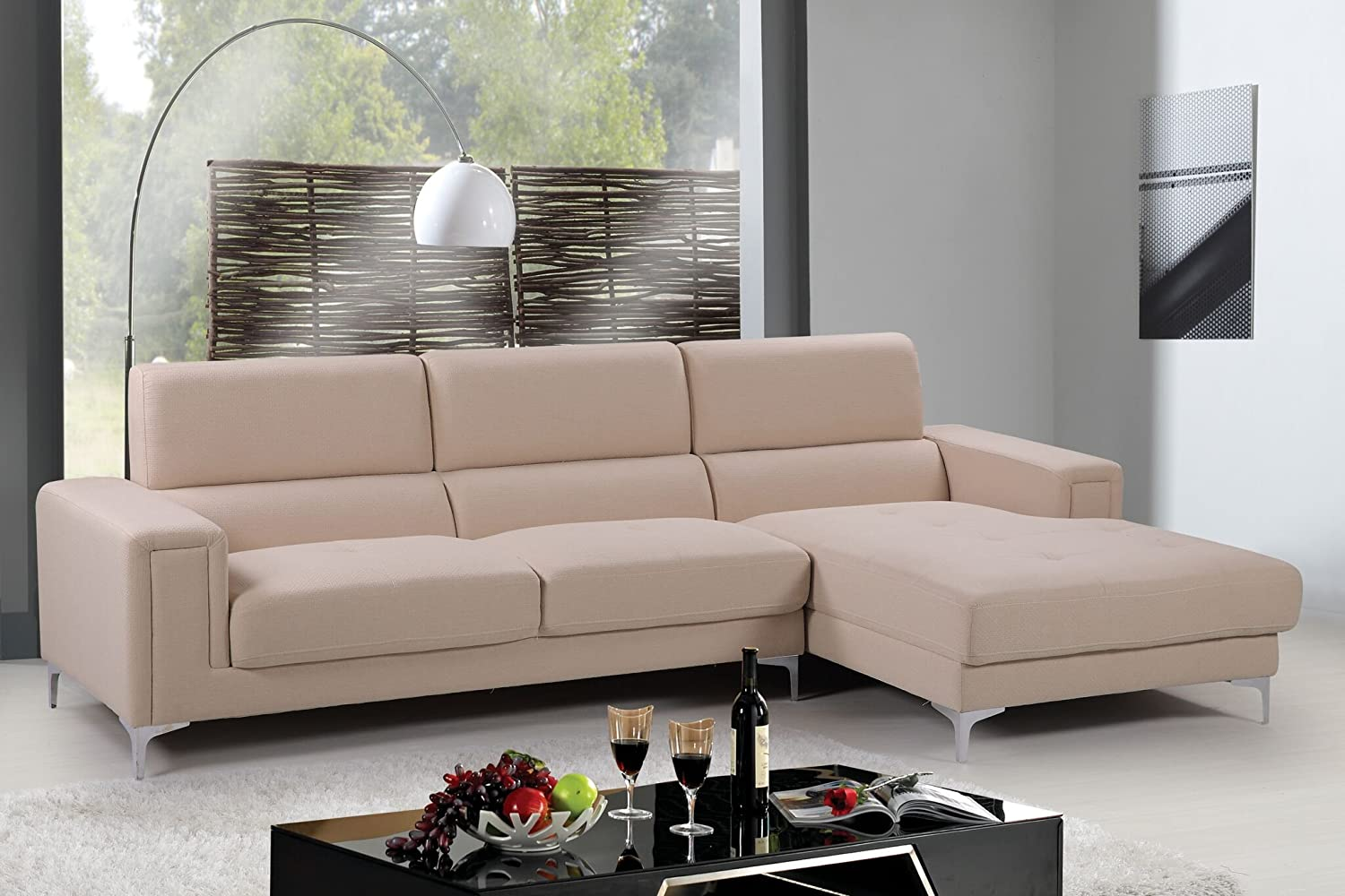 Amazon com container furniture direct sydney collection mid century upholstered linen fabric sectional sofa right facing chaise cream beige kitchen