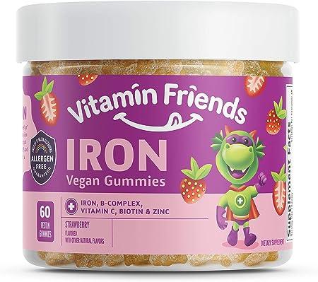 Vitamin Friends Iron Multivitamin for Kids - Vegan (60 Day Supply) Ferrous Fumarate with B-Complex, Vitamin C, Zinc, Biotin - Iron Gummies Support Kids Body Function Iron Levels & Anemia