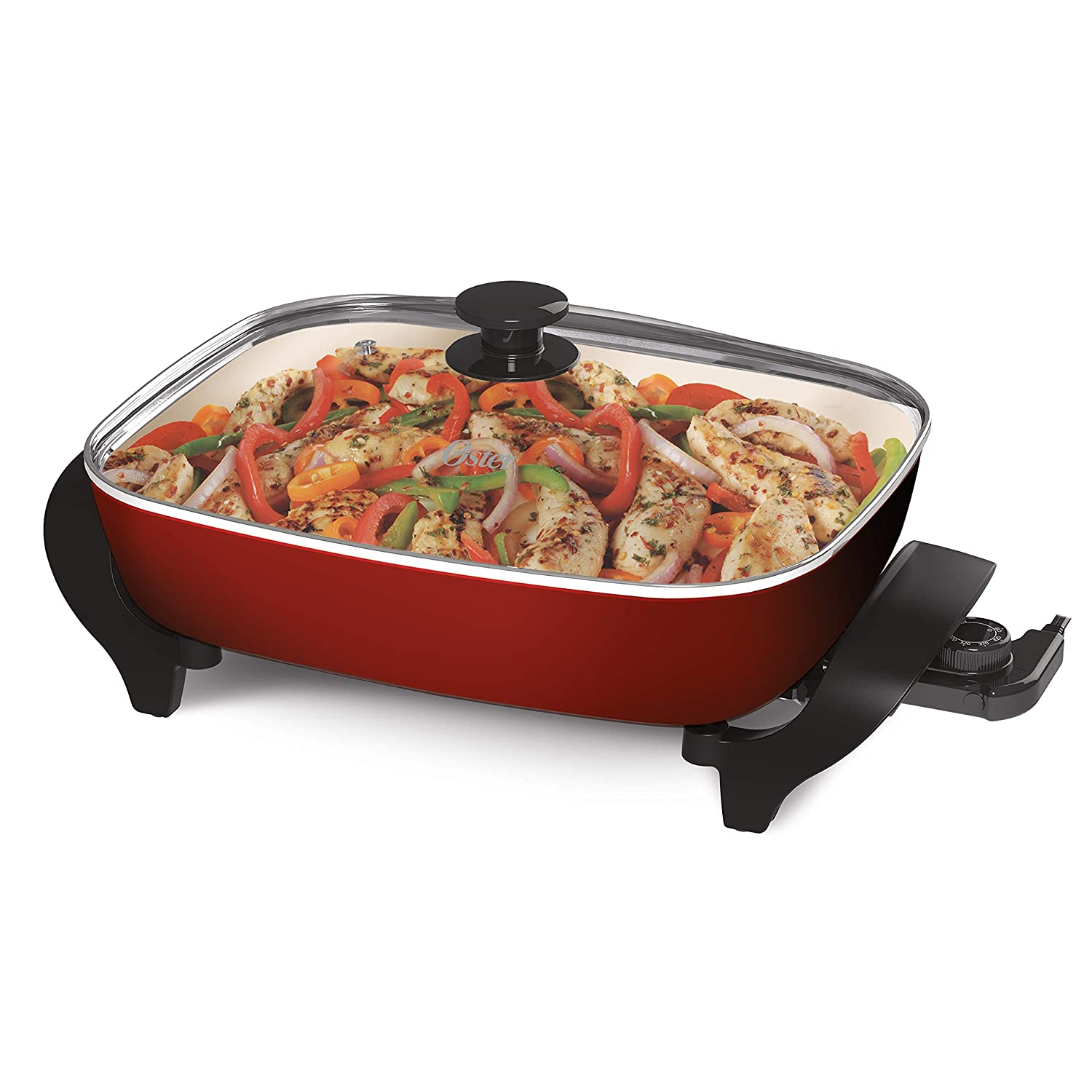 "Oster CKSTSKFM16MR-TECO Titanium Infused DuraCeramic Electric Skillet 12"" x 16"" Red/Eggshell"