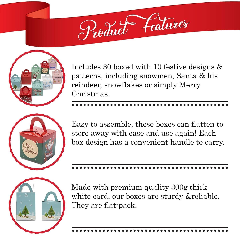 Ideali per regali di Natale caramelle e biscotti 30 confezioni regalo in cartoncino in 10 stili piccoli regali