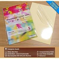 10Feuilles de qualité étanche Transparent A4/Transparente en vinyle brillant Sticky Autocollant Laser imprimable