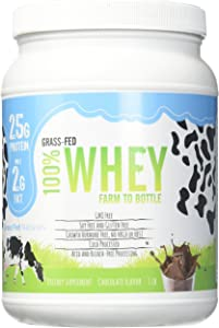 Grass Fed Natural Whey Undenatured 100% Grass Fed Whey Protein Powder, US Farm to Bottle, GMO, Soy, Gluten Free, No Preservatives, Muscle Growth & Recovery, Best Testing Protein (Chocolate Milk, 1LB)