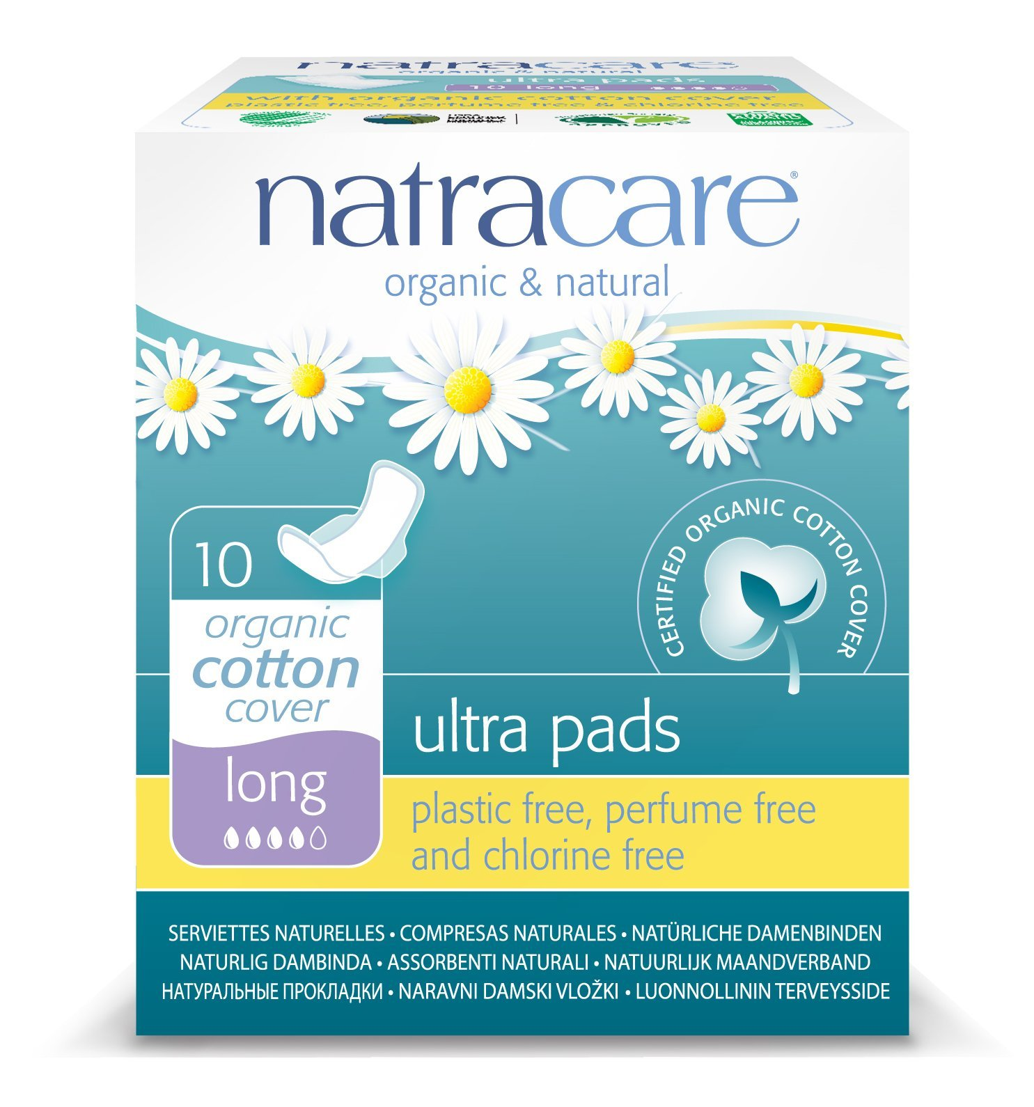 Natracare Natural Ultra Pads with Wings, Long, 10-Count Boxes (Pack Of 12) by Natracare
